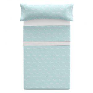 Lenzuolo letto singolo azzurro